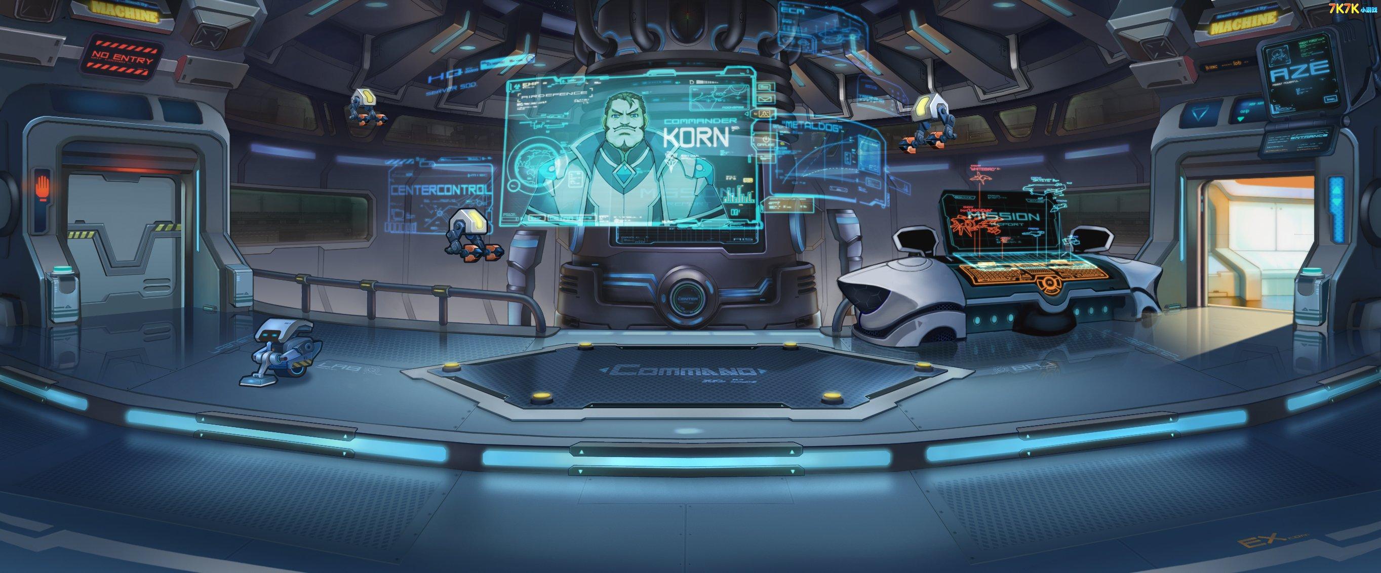 机甲游戏室内场景手绘